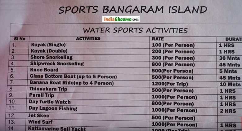 Lakshadweep Bangaram Water Sports